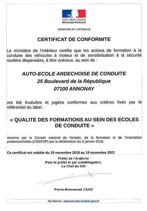 label auto-école AEADC
